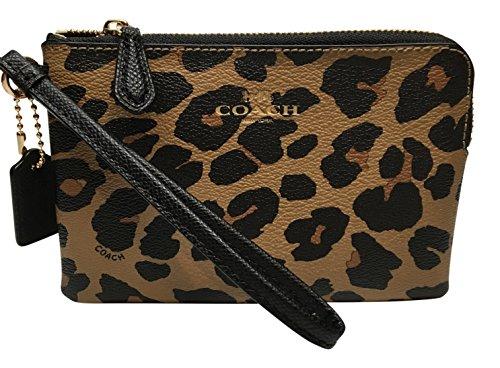 Coach Leopard Print Corner Zip Small Wristlet 66053