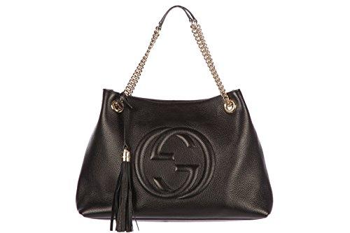 Gucci women's leather shoulder bag original soho black