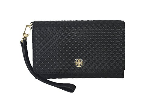 Tory Burch Marion Embossed Leather Convertible Clutch iPhone Wristlet, Black