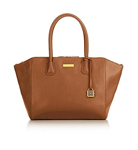 "JOY & IMAN Genuine Leather ""Best Friend"" City Womens Satchel with Watch – Whiskey"