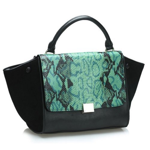Fineplus Women's Embossed Imitation Snake Skin Flap and 100% Genuine Leather Suade Bats Bag
