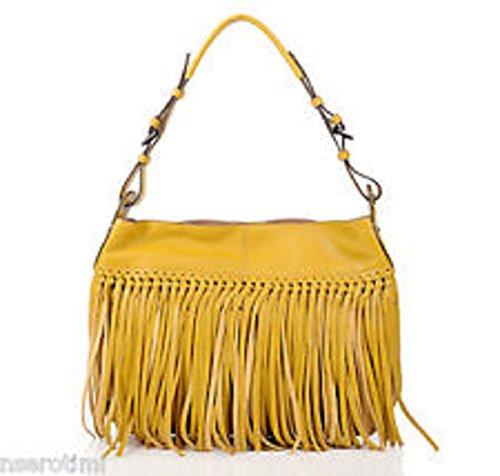 orYANY Josie Fringe Dijon ( Mustard Yellow ) Leather Hobo Shoulder Bag