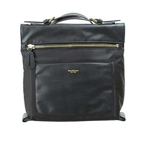 Isaac Mizrahi Womens Fashion Designer Handbags Womens Joan Nylon Leather Crossbody Bag Black