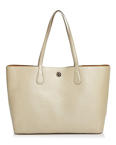 Tory Burch Metallic Perry Leather Soft Gold Tote