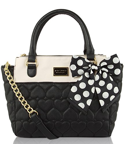 Betsey Johnson Quilted Heart Triple Compartment Dot Bow Satchel Shoulder Cross Body Bag