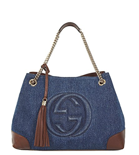 GUCCI 'Soho' Dark Denim Chain Shoulder Bag with Removable Strap 308982