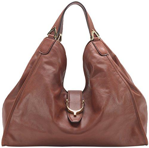 Gucci Deep Red Soft Stirrup Washed Leather Shoulder Bag