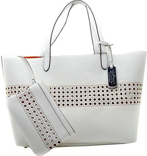 Lauren Ralph Lauren Womens Orange Leighton Large Tote Handbag