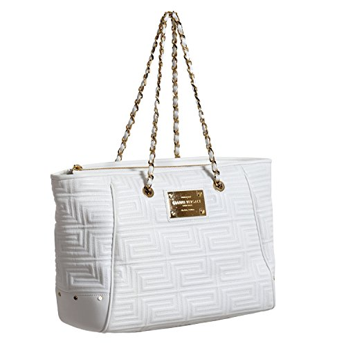 Versace Women's White Quilted Leather Shoulder Tote Bag
