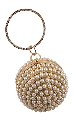 Pearl Beaded Rhinestone Round Ball Evening Bag Clutch – Prom, Bridal, Party