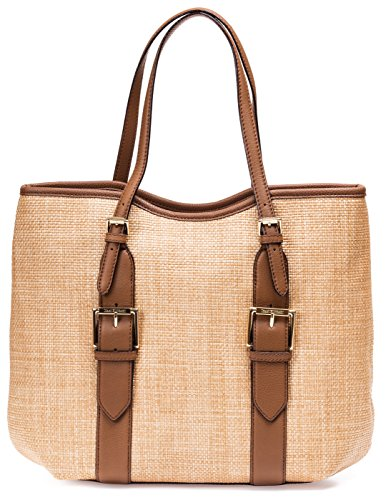 Isaac Mizrahi Womens Fashion Designer Handbags Lucille Leather Straw Beach Tote Shoulder Bag Camel Tan