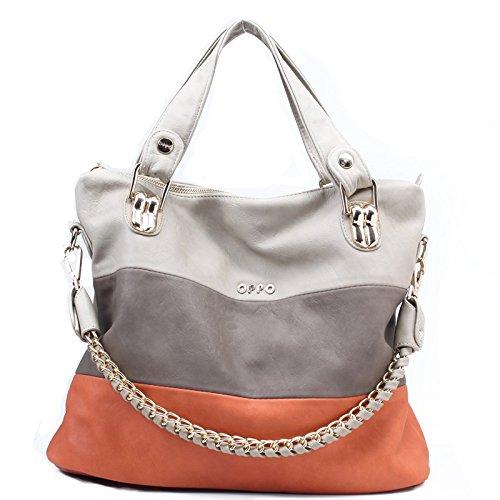 Women's Classic Fashion Tote Handbag Shoulder Bag Perfect Large Tote with Shoulder Strap(258,orange)