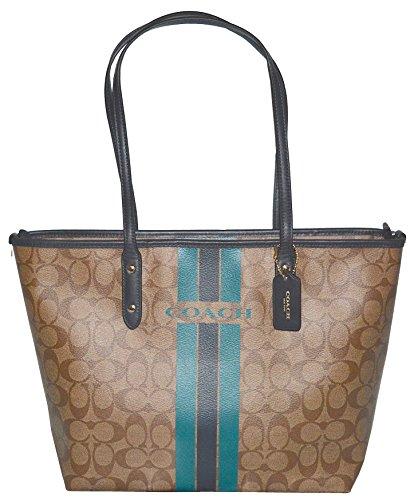 Coach Varsity Stripe City Zip Signature Bag Handbag Purse Tote