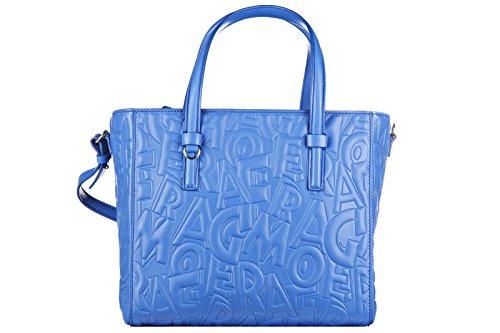 Salvatore Ferragamo women's leather handbag shopping bag purse bonnie blu