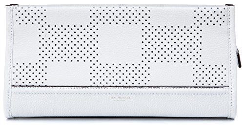 Isaac Mizrahi Womens Fashion Designer Handbags Kay Leather Check Perforated Clutch White