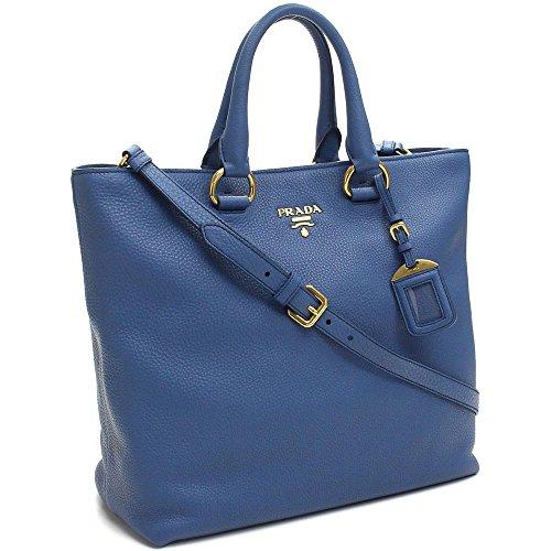 Prada Vit Vitello Daino Cobalto Blue Pebbled Leather Shopping Tote Handbag with Shoulder Strap BN2865