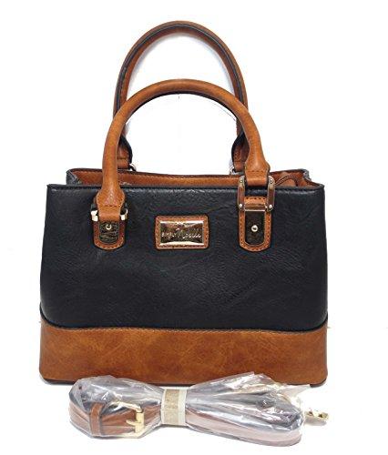 Noelle Vegan Faux Leather Princeton Medium Satchel Handbag in Black