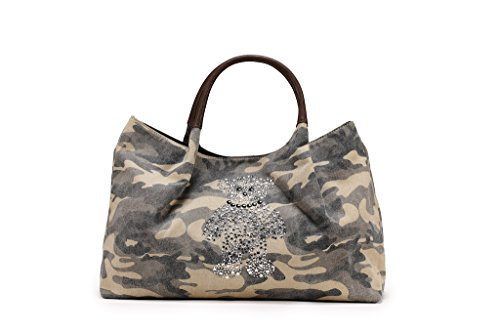 Sak&Co. Women's Bulk Teddy Bear Diamond Bling Canvas Tote Shoulder Bag with Leather Handle