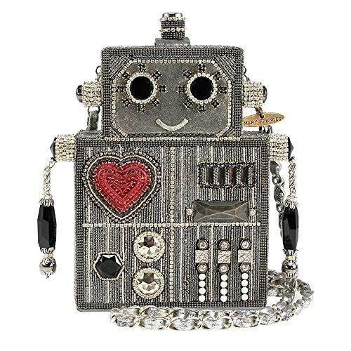 Mary Frances Sprocket Robot Heart Silver Handbag Bag New