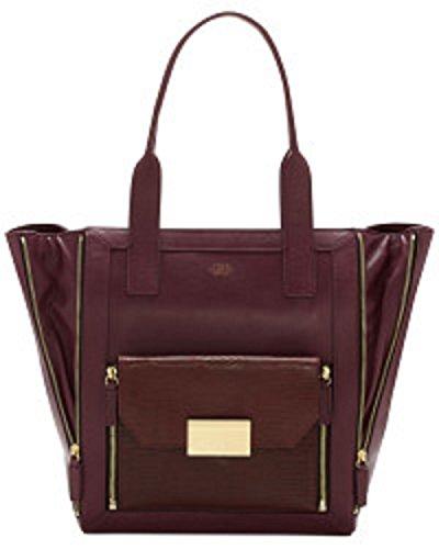 VINCE CAMUTO Bordeaux Leather Rhea Convertible Shoulder Tote Bag
