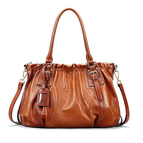 Kattee Vintage Genuine Cow Leather Satchel Shoulder Handbag