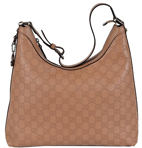 Gucci Women's Whisky Beige GG Guccissima Leather GG Pendant Hobo Purse