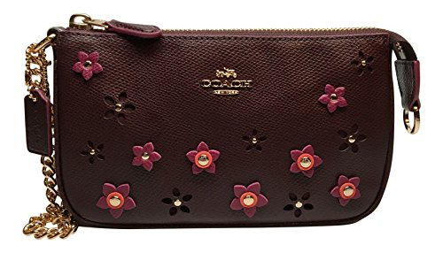 COACH Large Wristlet 19 In Floral Applique Leather Oxblood Clutch Purse 65471