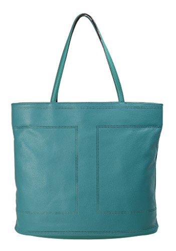 Isaac Mizrahi Womens Fashion Designer Handbags Kay Leather Double Handle Tote Shoulder Bag Jade Green