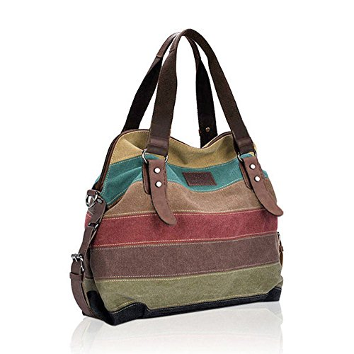 MyZenStore Women Casual Stripe Canvas Handbags