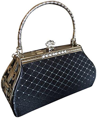 Joy Collection Satin Crystals Clutch Evening Bag Handbag Black Silver Shoulder Strap
