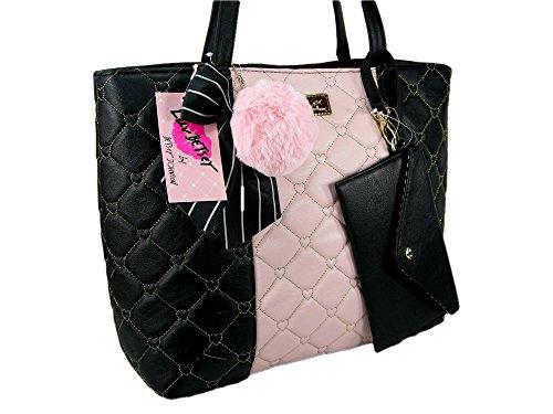 New Betsey Johnson Purse Satchel Handbag & Pouch Wristlet Set 2 Piece Black Pink