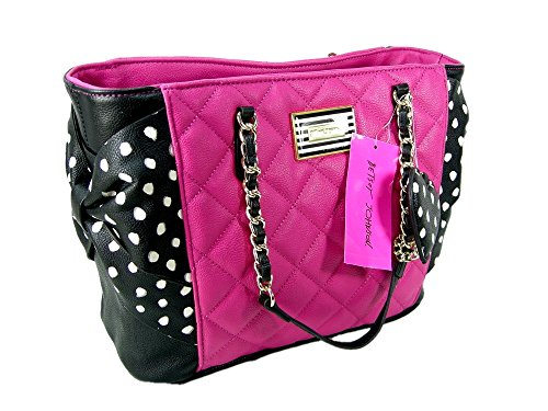New Betsey Johnson Logo Purse Satchel Shoulder Bag Black White Polka Dot Pink