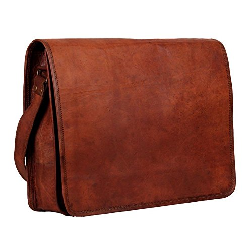 ADIMANI Vintage Handmade Leather Crossbody Laptop Messenger Bag