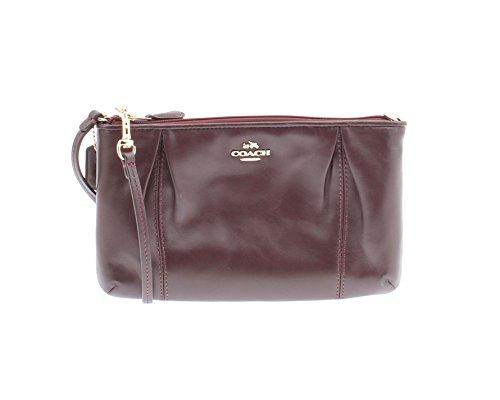 Coach Colette Leather Zip Handbag Wristlet – Oxblood 64369