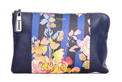 Isaac Mizrahi Womens Fashion Designer Handbags Cybil Leather Clutch Bag with Detachable Crossbody Strap Rose Stripe
