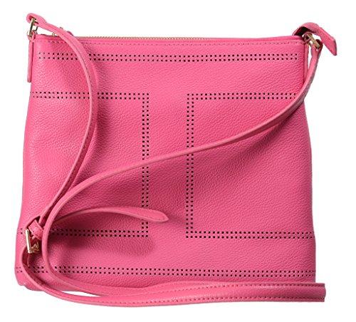 Isaac Mizrahi Womens Fashion Designer Handbags Kay Leather Crossbody Shoulder Bag Fuchsia Pink