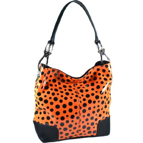 Dasein Glossy Polka Dot Hobo With Faux Leather Trim