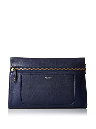 Isaac Mizrahi Womens Fashion Designer Handbags Janna Leather Clutch Evening Crossbody Bag Navy Blue