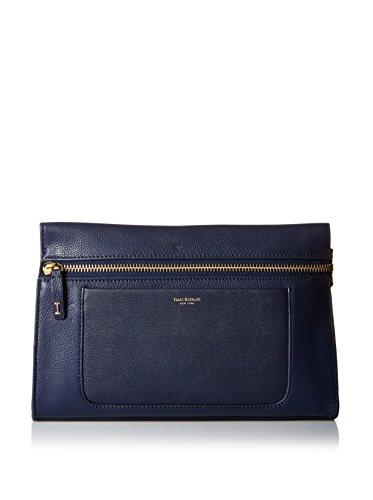 Isaac Mizrahi Womens Fashion Designer Handbags Janna Leather Clutch Evening Crossbody Bag Navy Blue