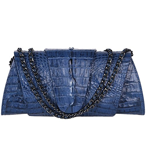 STDEYN Women's Crocodile Leather Ladies Shoulder Bag Evening Party Bag Blue