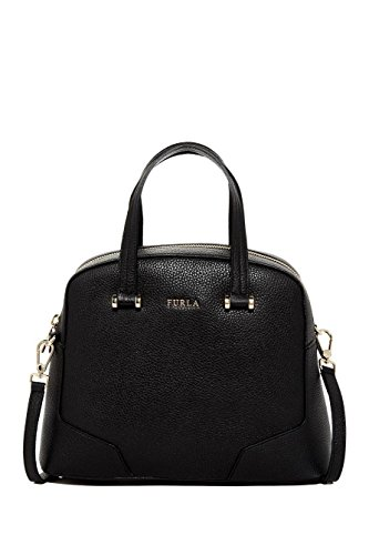 Furla Michelle Leather Dome Satchel Bag, Black