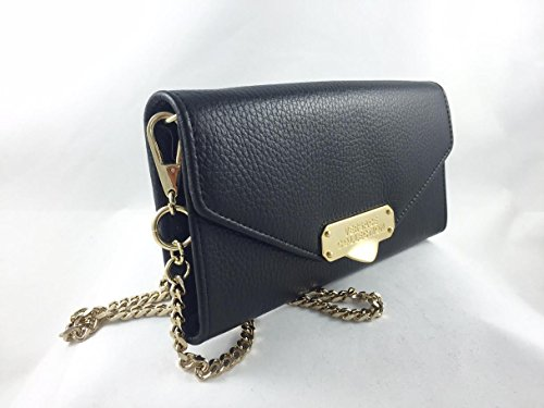Versace Collection Pebbled Leather Envelope Wallet-On-Chain Black – LPD0340