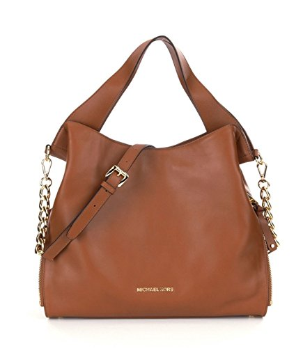NEW AUTHENTIC MICHAEL KORS LARGE DEVON LEATHER SHOULDER TOTE BUSINESS BAG (Luggage)