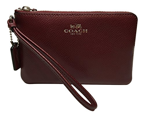 Coach Corner Zip Cross-Grain Leather Small Wristlet 54626 Burgundy