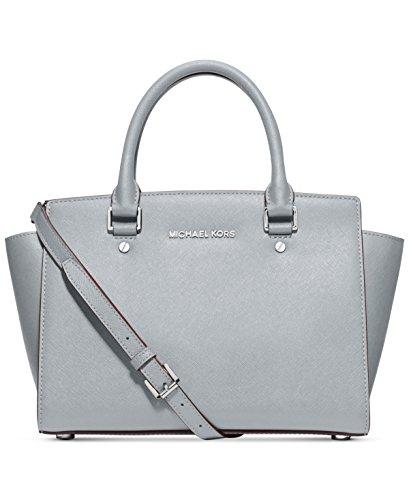 Michael Kors Selma Medium Satchel saffiano leather Dusty Blue/Silver