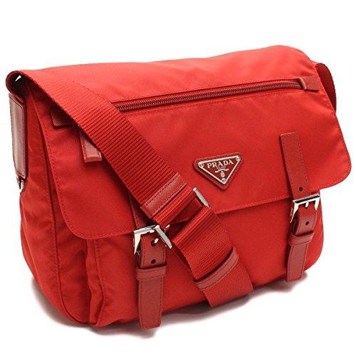 Prada Red Tessuto Pattina Nylon and Leather 2 Pocket Cross Body Messenger Bag BT0953
