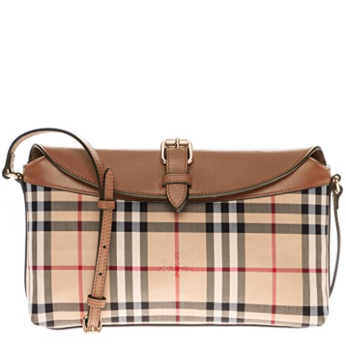 Burberry Women's Horseferry Check Small Leah Clutch Bag Honey Tan