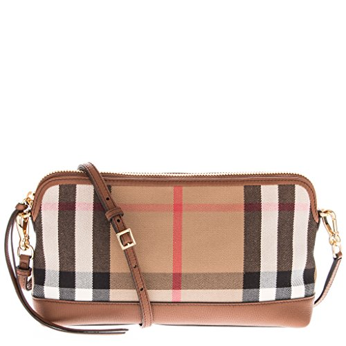 Burberry Women's House Check Derby Leather Small Abingdon Clutch Bag Tan