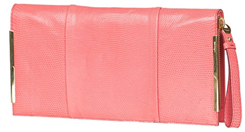 Salvatore Ferragamo Pink Leather Zip Around Pouch Clutch