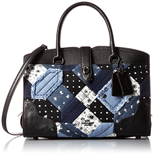 COACH Women's Canyon Quilt Denim Mercer 30 Satchel DK/Denim Skull Print Satchel